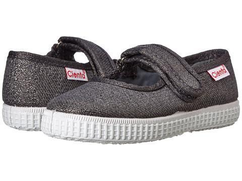 Cienta Girl's 56013 Grey Sparkle Canvas Mary Jane