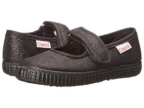Cienta Girl's 56113 Black Sparkle Mary Jane with Black Sole