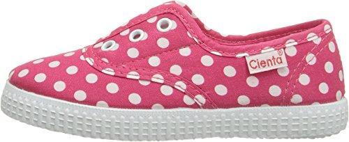 Cienta Girl's 55088 Fuchsia Polka Dot Canvas Laceless Sneaker