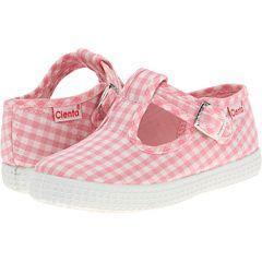 Cienta Girl's 51007 Pink Gingham T- Strap