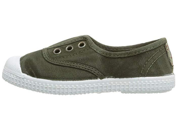 Cienta Boy's and Girl's 70777 Distressed Green Canvas Laceless Sneaker
