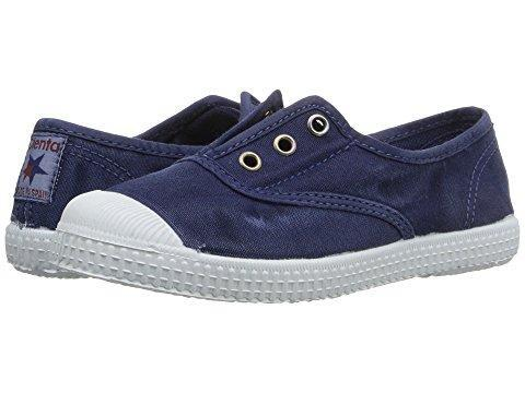 Cienta Boy's and Girl's 70777 Distressed Navy Canvas Laceless Sneaker