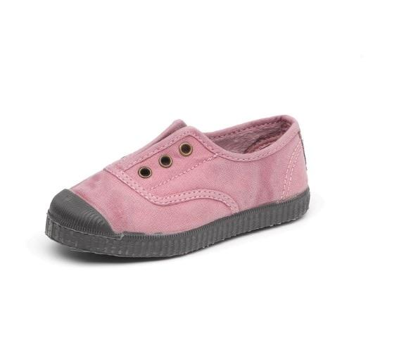 Cienta 955777 Pink Washed Canvas Laceless Sneaker