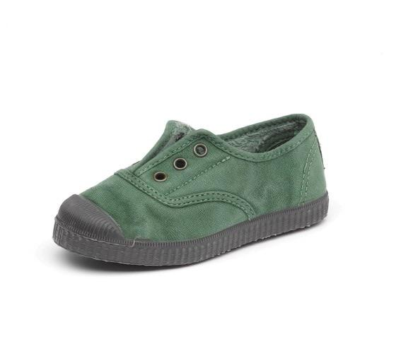Cienta 955777 Green Washed Canvas Laceless Sneaker