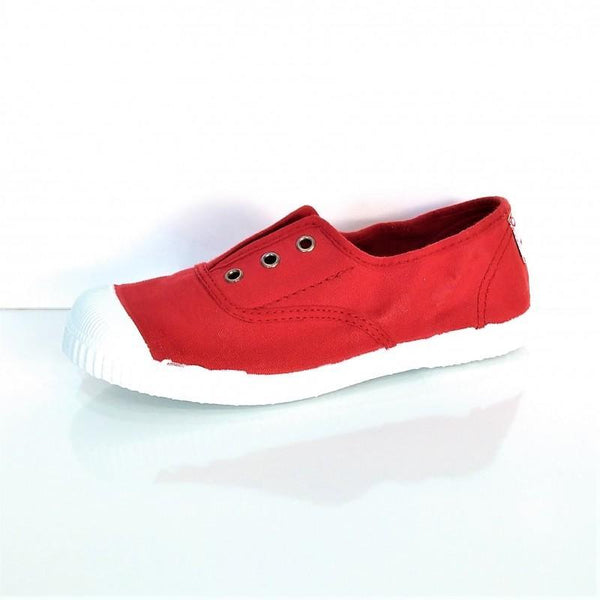 Cienta Boy's and Girl's 70997 Red Canvas Laceless Sneaker