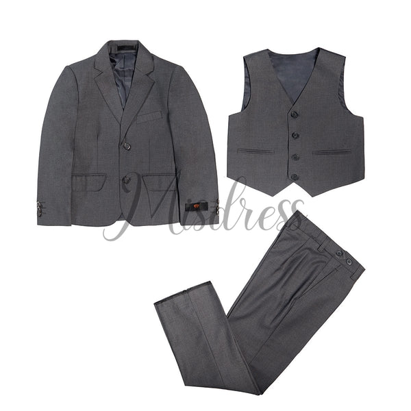3 PCS Gray Boys Suit Page Boy Suit Wedding Occassional Suit - Boys Suits