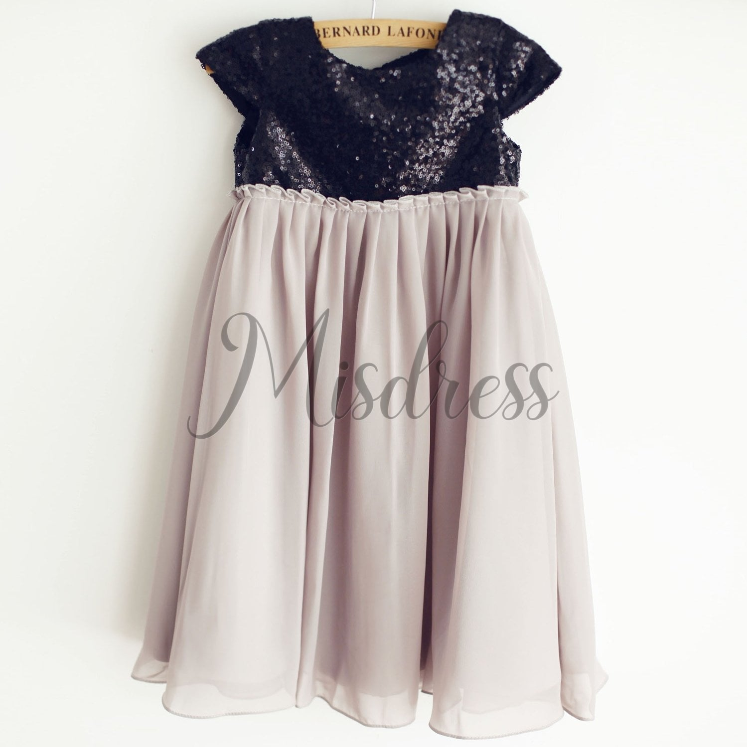 Black Sequin Gray Chiffon Cap Sleeves Wedding Flower Girl Dress - Flower Girl Dresses