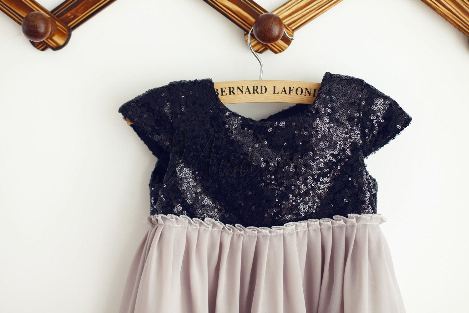 Black Sequin Gray Chiffon Cap Sleeves Wedding Flower Girl Dress