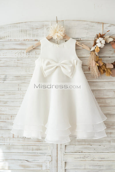 Boho Beach Ivory Satin Organza Wedding Flower Girl Dress with Bow - Flower Girl Dresses