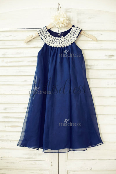 Boho Beach Navy Blue Chiffon Flower Girl Dress with pearl beaded neckline - Flower Girl Dresses