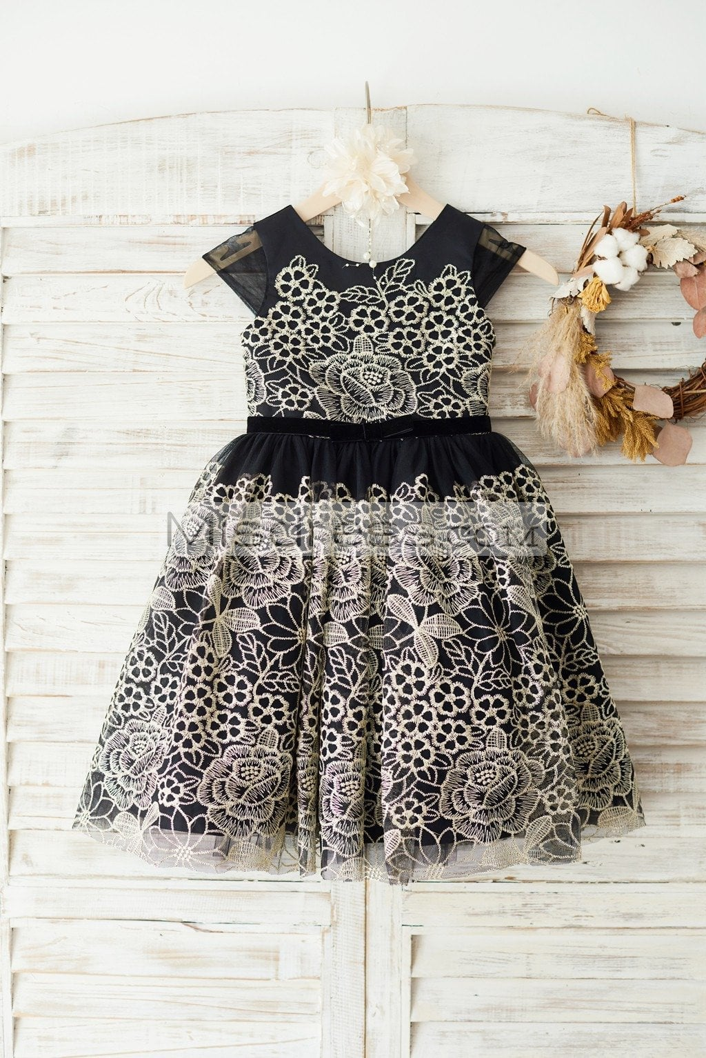 Cap Sleeves Gold Lace Black Tulle Wedding Party Flower Girl Dress - Flower Girl Dresses