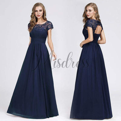 Cap Sleeves Keyhole Back Lace Chiffon Evening Prom Dress - Prom Dresses