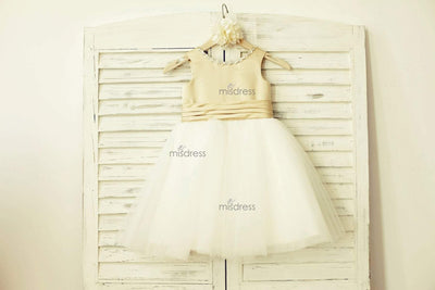 Champagne Satin Ivory Tulle Flower Girl Dress with bow - Flower Girl Dresses