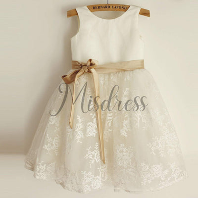 Ivory Lace Satin Wedding Flower Girl Dress with Champagne Belt - Flower Girl Dresses