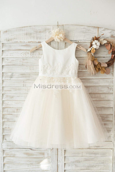 Ivory Satin Champagne Tulle Wedding Flower Girl Dress with Ivory Beaded Lace - Flower Girl Dresses
