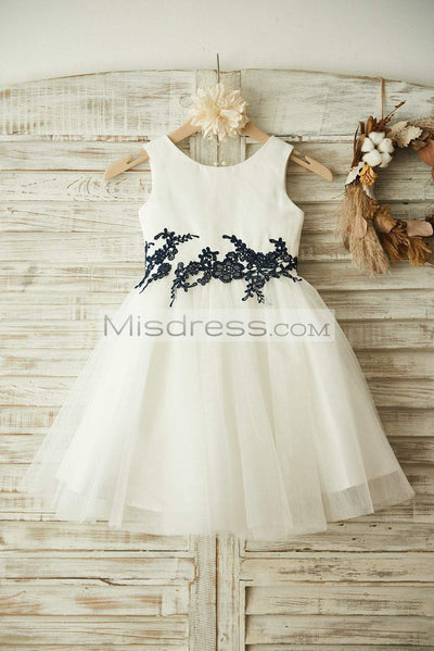 Ivory Satin Tulle Black Lace Wedding Flower Girl Dress - Flower Girl Dresses
