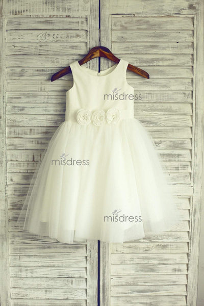 Ivory Satin Tulle Flower Girl Dress Baby Girl Dress With Flowers Sash - Flower Girl Dresses