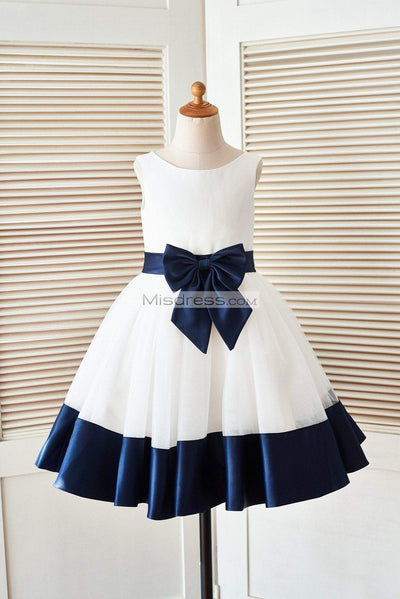 Ivory Satin Tulle Flower Girl Dress with Navy Blue Belt\Bow - Flower Girl Dresses