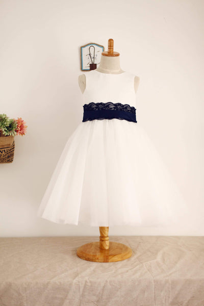 Ivory Satin Tulle Flower Girl Dress with navy blue Lace sash - Flower Girl Dresses