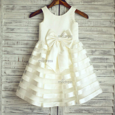 Ivory Satin Tulle Stripes Flower Girl Dress with big bow - Flower Girl Dresses