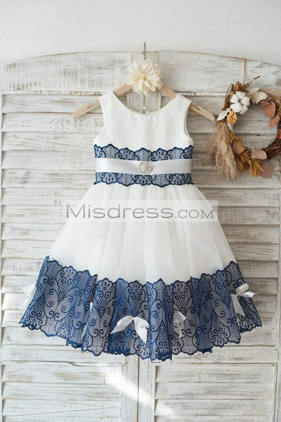 Ivory Satin Tulle Wedding Flower Girl Dress with Navy Blue Lace Bow Belt - Flower Girl Dresses