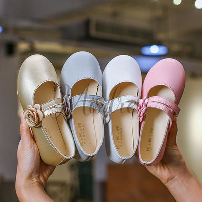 Ivory/Gold/Pink Wedding Flower Girl Shoes Ballet Flat Princess Shoes