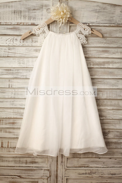 Lace Cap Sleeves Boho Beach Ivory Chiffon Flower Girl Dress - Flower Girl Dresses