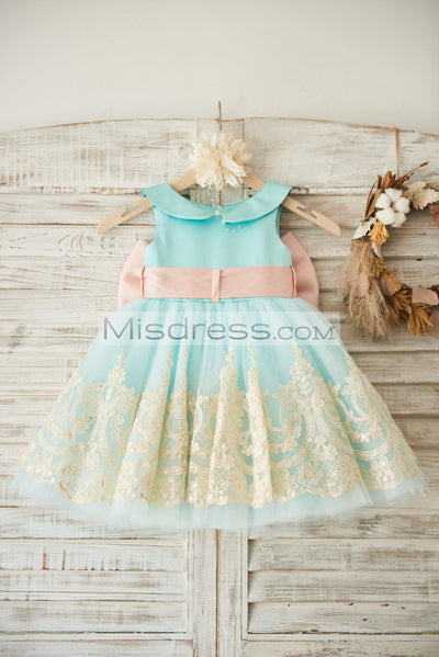 Light Blue Satin Tulle Lace Wedding Flower Girl Dress with Blush Pink Belt/Bow - Flower Girl Dresses