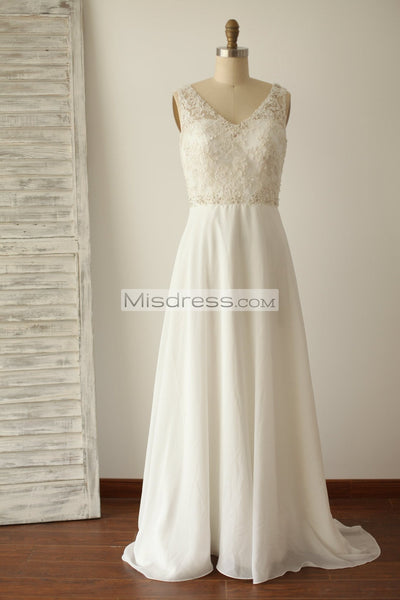 A Line V Back Beaded Lace Chiffon Bridal Dress with Small Train - Bridal Dresses