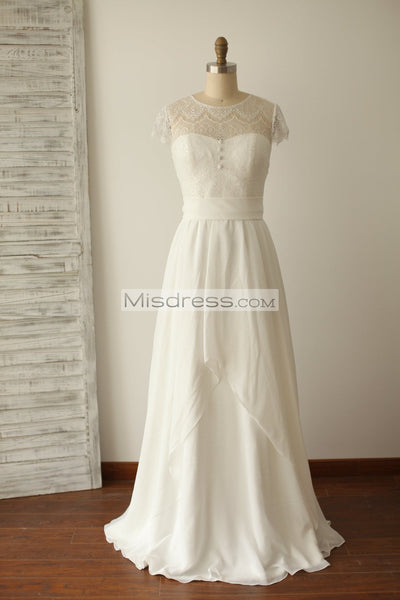 A Line Cap Sleeves Lace Chiffon Wedding Dress - Bridal Dresses