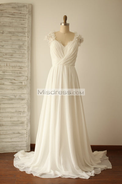 A Line Cap Sleeves Lace Chiffon Wedding Dress with Small Train - Bridal Dresses