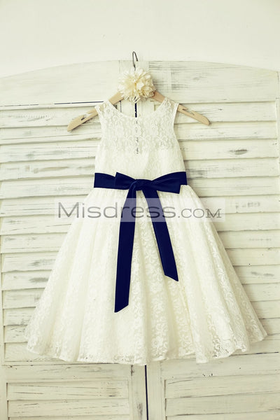 A-line Ivory Lace Flower Girl Dress (navy blue sash) - Flower Girl Dresses