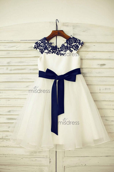 Navy Blue Lace Ivory Satin Tulle Flower Girl Dress With Navy Blue Sash - Flower Girl Dresses
