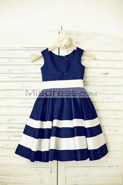 Navy Blue Satin Ivory Stripes Flower Girl Dress - Flower Girl Dresses