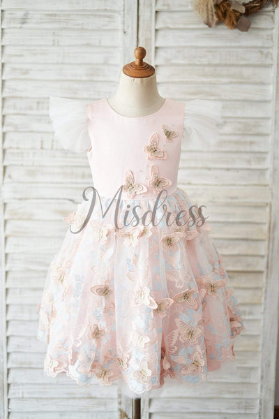 Pink Satin Butterfly Tulle Ruffle Cap Sleeves V Back Wedding Flower Girl Dress - Flower Girl Dresses