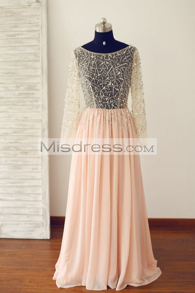 Sheer Long Sleeves Sexy Blush Pink Tulle Chiffon Prom Dress (long train) - Prom Dresses