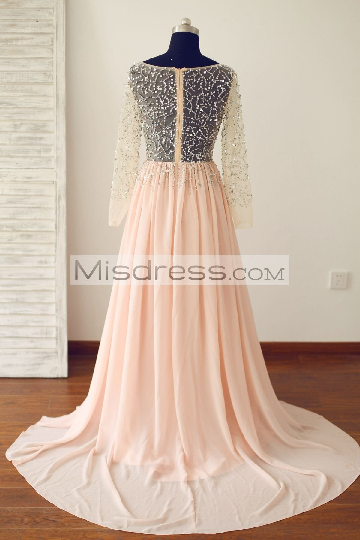 Sheer Long Sleeves Sexy Blush Pink Tulle Chiffon Prom Dress (long train)