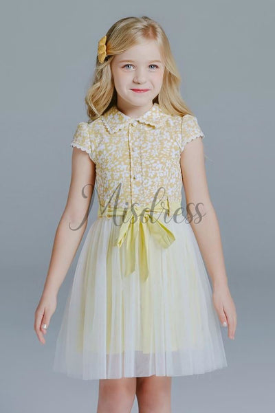 Yellow Floral Cotton Tulle Cap Sleeves Peter Pan Neck Wedding Flower Girl Dress Kids Dress - Flower Girl Dresses