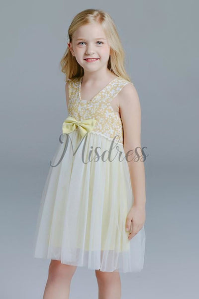 Yellow Floral Cotton Tulle Straps Wedding Flower Girl Dress Kids Dress - Flower Girl Dresses