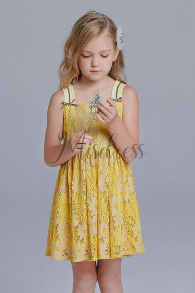 Yellow Lace Straps Wedding Flower Girl Dress Kids Dress - Flower Girl Dresses