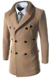 Men's Long Sleeves Woolen Blend Thicken Peacoat