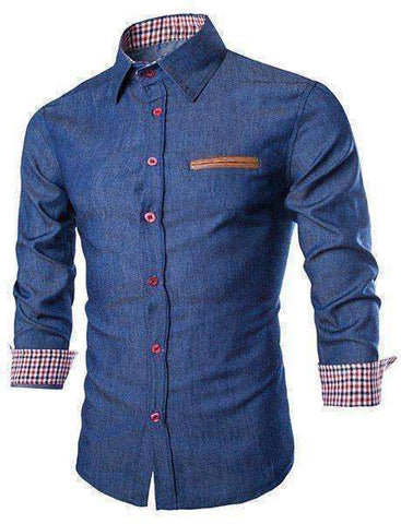 Men's Leather Pocket Hemming Long Sleeve Denim Shirt