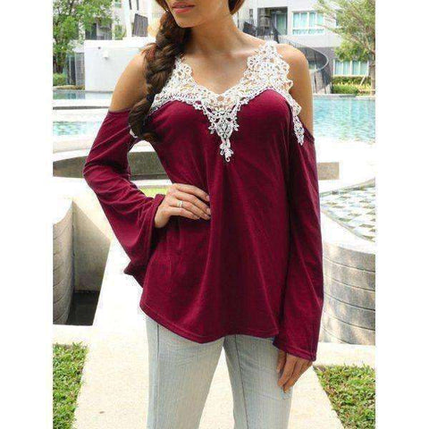 Women's Cold Shoulder Lace Splicing Color Shirt - The Timeless Store