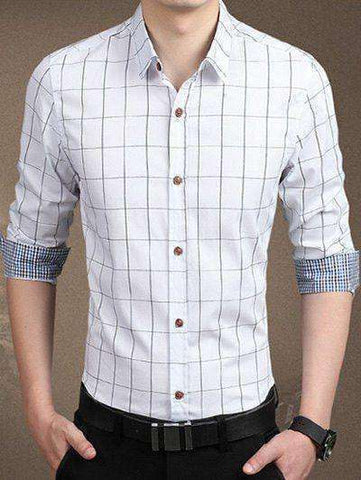 Men's Red, White, Blue Long Sleeve Checked Button-Down Shirt - The Timeless Store