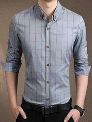 Men's Long Sleeve Checked Button-Down Shirt