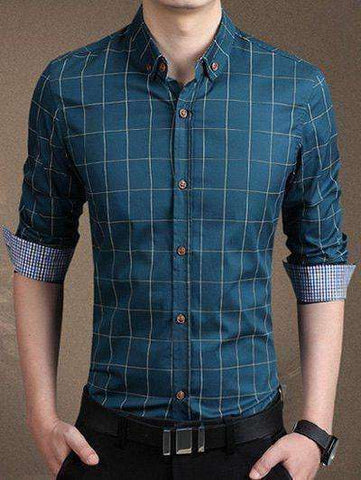 Men's Long Sleeve Checked Button-Down Shirt - The Timeless Store