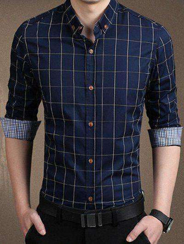 Men's Red, White, Blue Long Sleeve Checked Button-Down Shirt