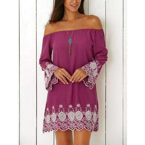 Women's Vintage Off The Shoulder Embroidered Mini Dress