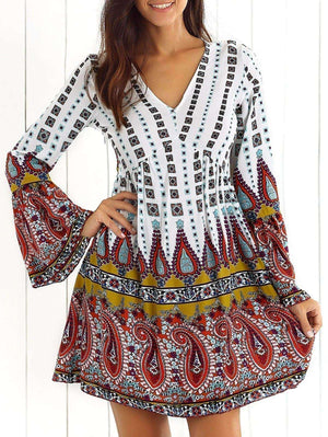 Flare Sleeve Print Mini Dress - The Timeless Store