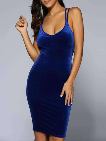 Women's Bodycon Velvet Dress - The Timeless Store
